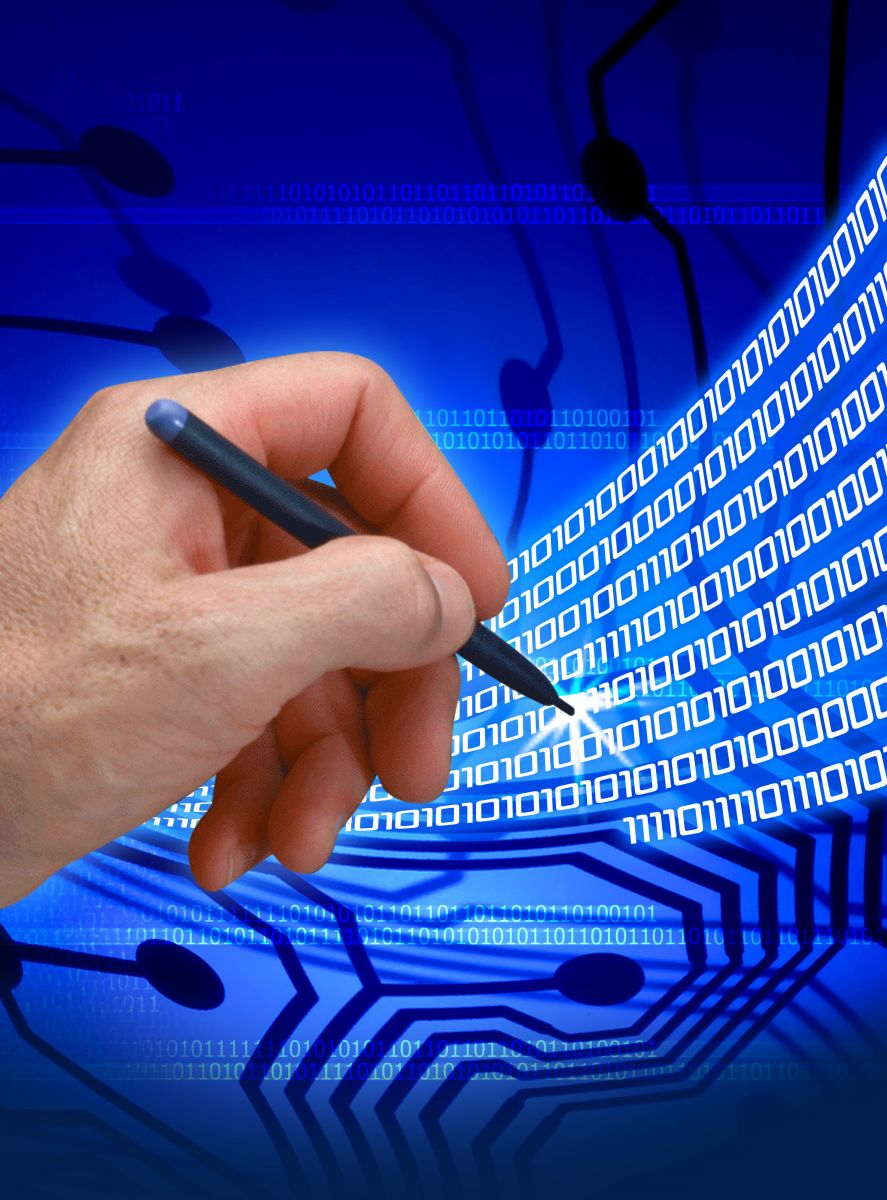 Hand with Pen and Binary Code