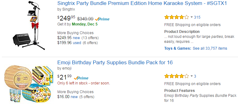 Amazon party bundles
