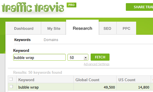 Traffic Travis Search - Bubble Wrap