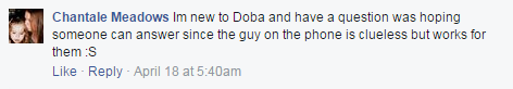 Doba Customer service Facebook review