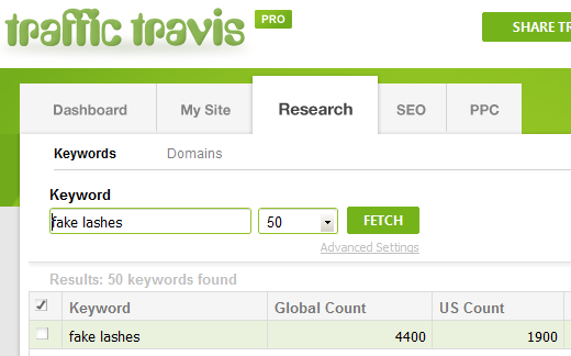 Fake lashes keyword results - Traffic Travis
