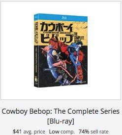 eBay statistics for Cowboy Bebop Series