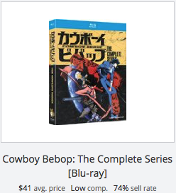 eBay statistics for Cowboy Bebop Series