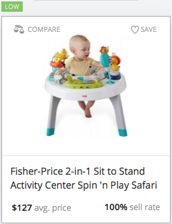 Success rate for Fisher-Price activity gym