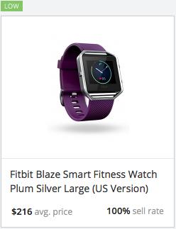 eBay statistics for Fitbit Blaze