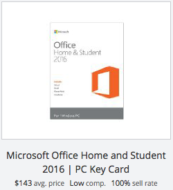 eBay statistics for Microsoft Office Home & Student key card