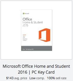 eBay statistics for Microsoft Office Home & Student key card