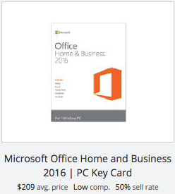 eBay statistics for Microsoft Office Home & Business key card