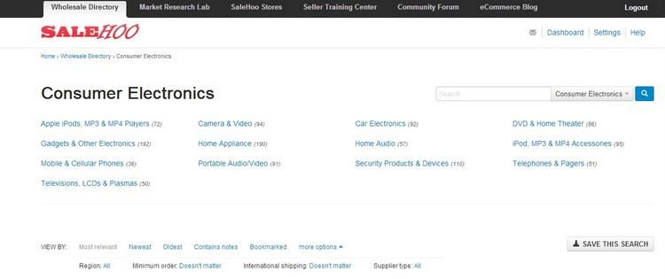 SaleHoo Wholesale Supplier Directory - Consumer Electronics