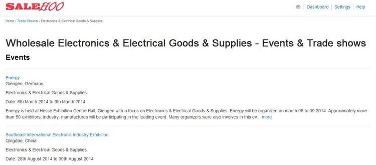 SaleHoo Wholesale Electronics Trade Shows and Events List