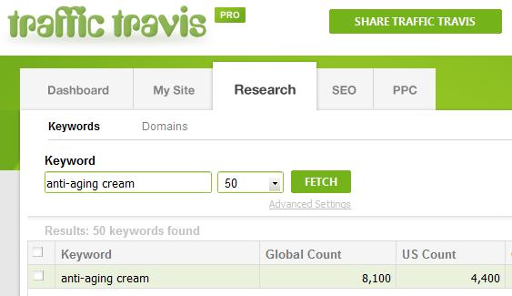Traffic Travis Search - Anti-Aging Cream