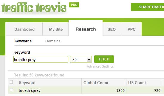 Traffic Travis breath spray keyword search