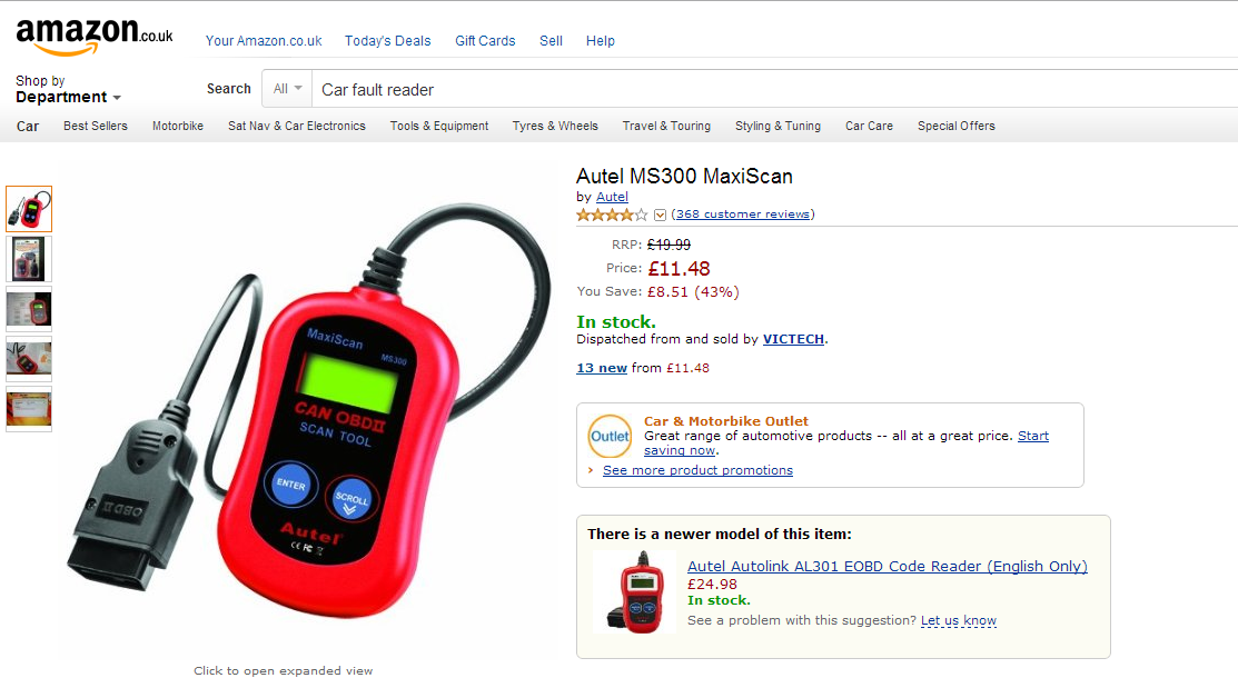 Autel MS300 MaxiScan car fault reader on Amazon
