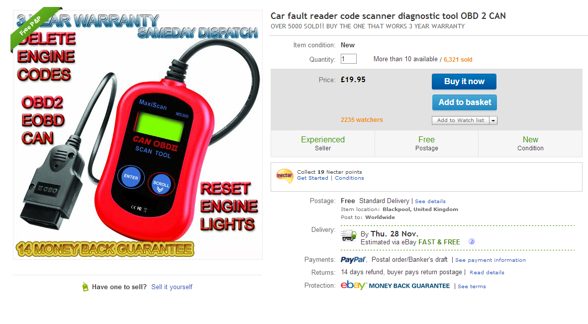 Autel MS300 MaxiScan car fault reader on eBay