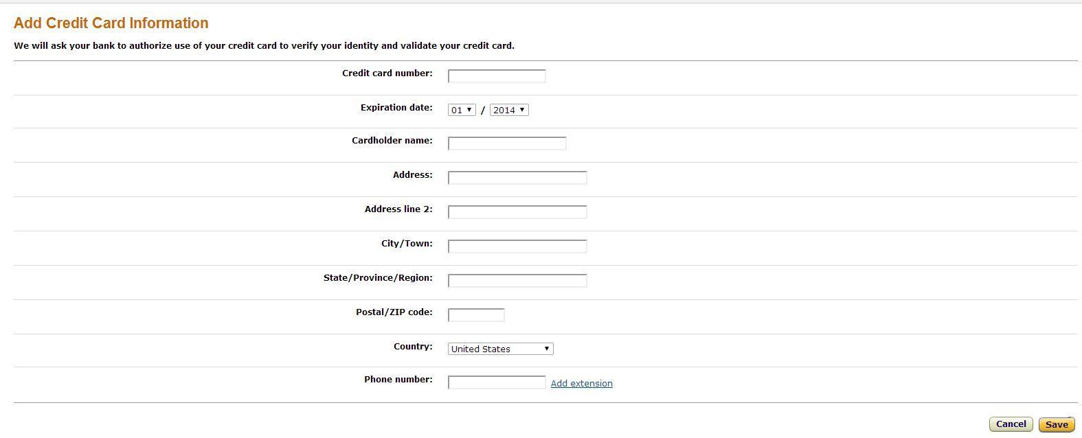 Amazon Credit Card Info