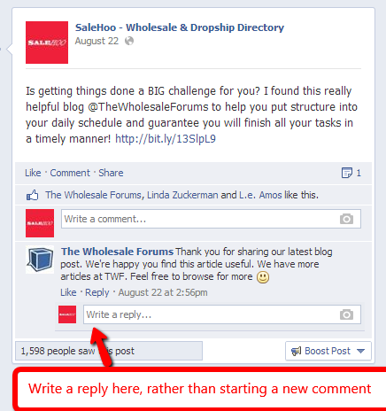 Replying to posts on Facebook