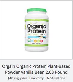 eBay statistics for Orgain vanilla protein powder