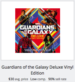 eBay statistics for Guardians of the Galaxy LP Record
