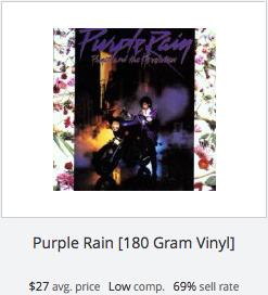 eBay statistics for Purple Rain Vinyl Record