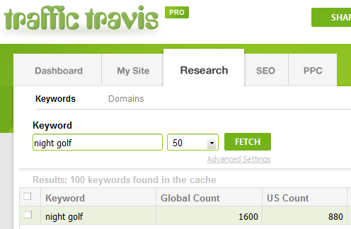 Traffic Travis search - night golf