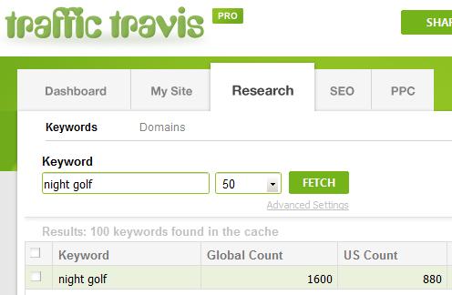 Traffic Travis search - night golf