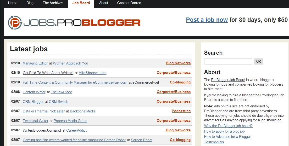 Find talented freelance writers on the problogger jobs board