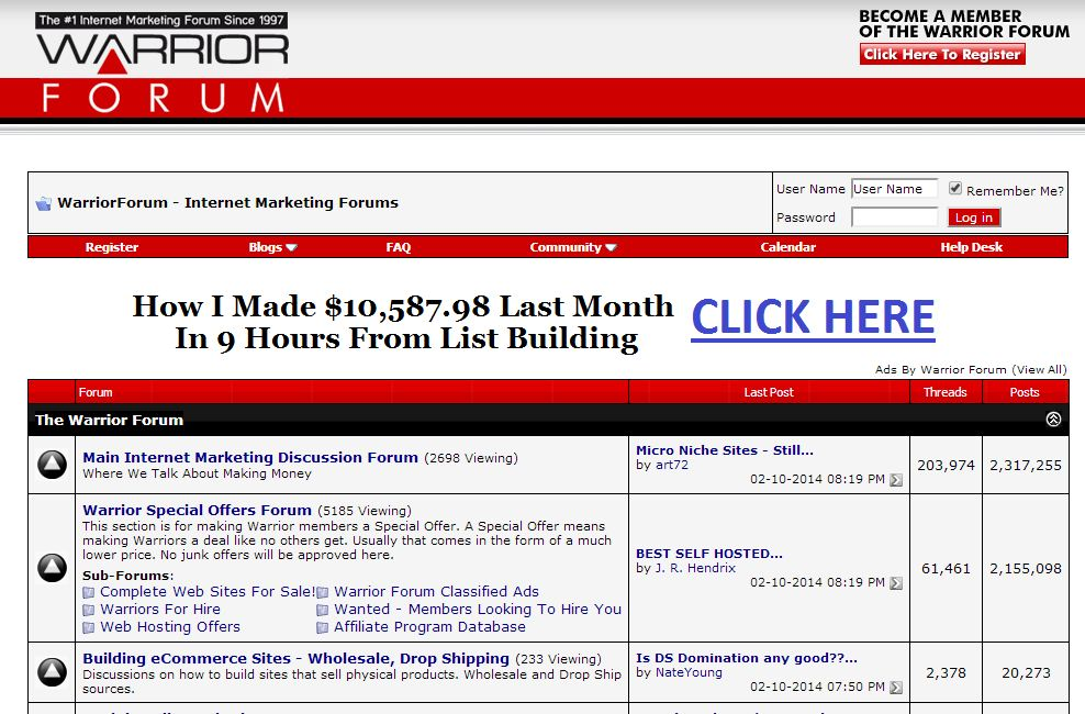The Warrior forum is a place for hiqh quality internet marketers